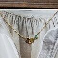 Mujeres colgante y collar de regalo personalizado grabado cartas en forma de corazón transparente cristal esmeralda 14 k de oro llena de collar de mujer