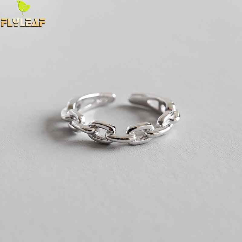 Flyleaf Smooth Chain Shape Open Rings For Women 2018 New Trend 100% 925 Sterling Silver Lady Fashion Jewelry