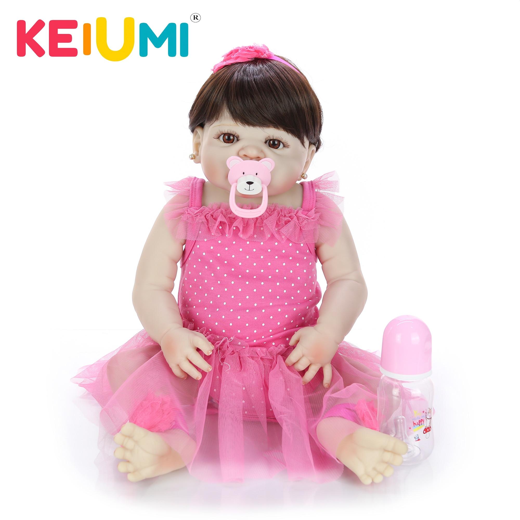 23 ''57 cm Silikon Volle Körper Baby Puppe Spielzeug Für Mädchen Lebensechte Babys Reborn Puppe Echte Prinzessin Tragen Rosa kleid Für Kinder Geschenk-in Puppen aus Spielzeug und Hobbys bei  Gruppe 1