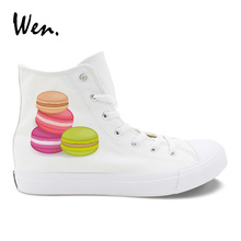 Wen Women Vulcanize Shoes High Top White Canvas Sneakers Round Toe Low-Heeled Casual Flat Original Design Food Series Patterns