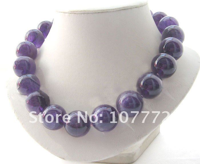 AAA 18 20 mm perfect round purple crystal necklace free shipmentAAA 18 20 mm perfect round purple crystal necklace free shipment