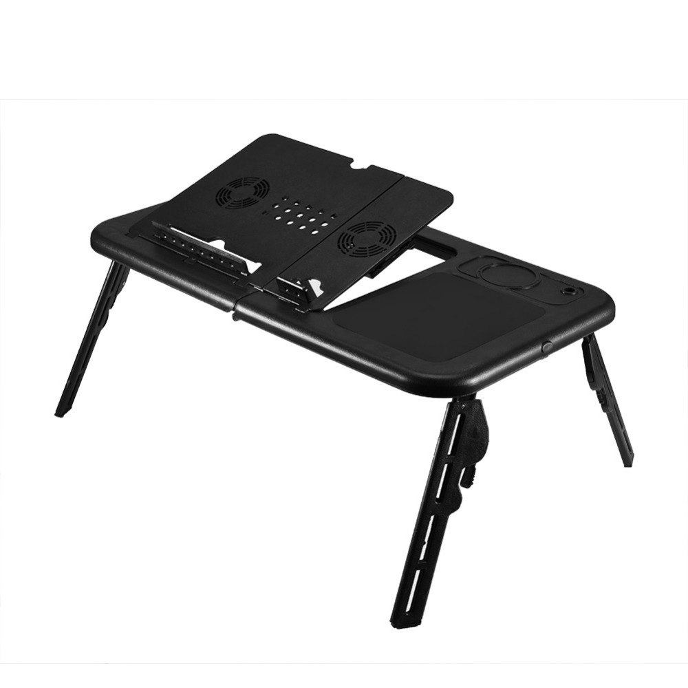 Image 2 - Adjustable Folding Table Laptop Table Stand Lap Tray Notebook Desk With USB Cooling Fans Stand Tray-in Laptop Desks from Furniture