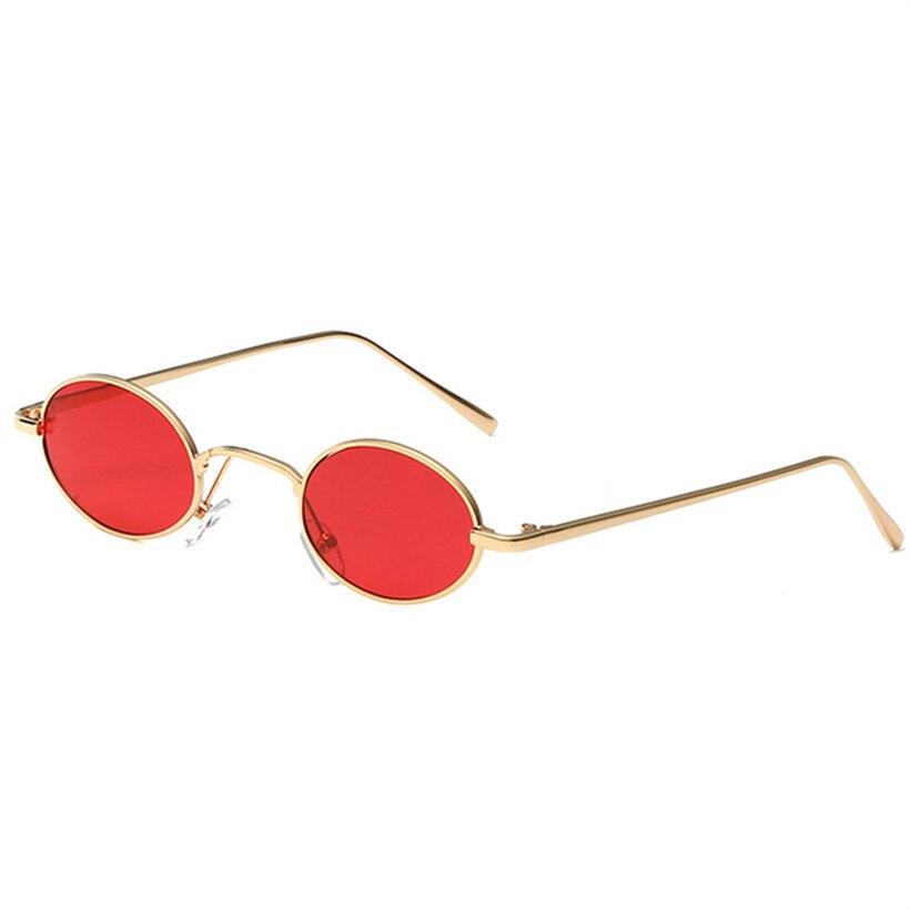 025ceb537 NYWOOH Luxo Rodada Óculos De Sol Das Mulheres Dos Homens De Metal Pequeno  Oval Lente Óculos