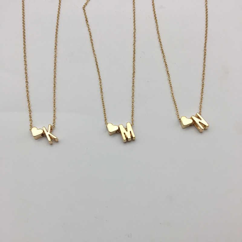 Moda kobiety serce 26 liter New Arrival złoty spersonalizowane regulowane dziewczyny wisiorek naszyjnik podwójna warstwa naszyjniki