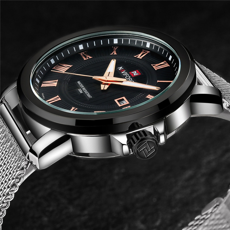 NAVIFORCE Men Watch Military Sport Mens Watches Top Brand Luxury Rome Army Business Date Steel Band Quartz Male Clock Box 9052 naviforce 9052 men quartz watch stainless steel band date display