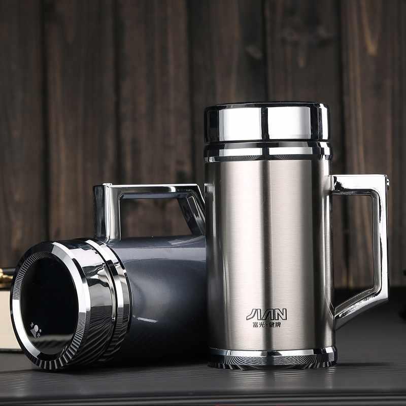 クリエイティブギフトカップステンレス鋼真空フラスコ魔法瓶付きハンドグリップフィルターコーヒー紅茶マグ熱水ボトル480ミリリットルギフトボックス