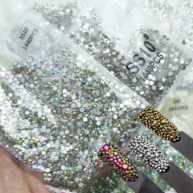1440 pièces verre 3D Strass pour ongles Art conception gemmes ongles décorations cristal Strass AB pierres SS3-SS10