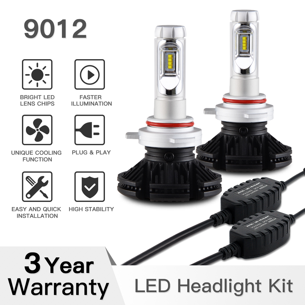 9012 HIR2 ZES Chips LED Headlight High Low Beam Bulbs Conversion Kit Headlamp DIY 3 Colors