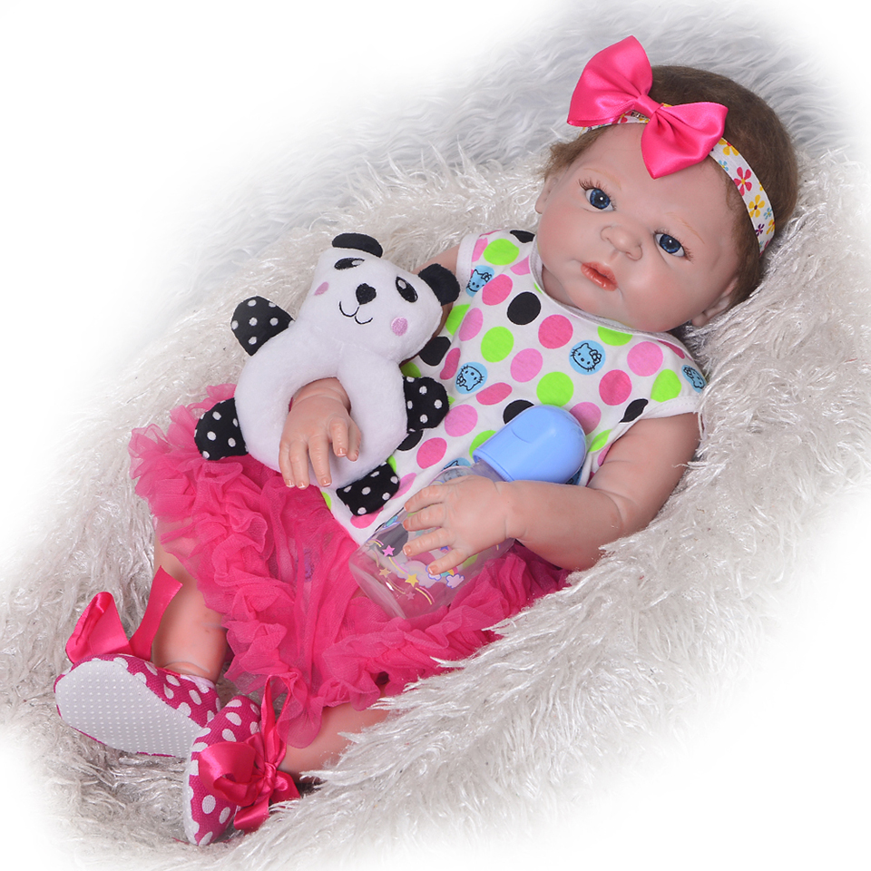 23 Inch Reborn Baby Doll Lifelike Full Silicone Vinyl Girl Body Newborn Babies That Look Real Kids Birthday Christmas Gift handmade girl american doll full body vinyl 18 inch princess girls doll real lifelike reborn alive toy kids birthday gift