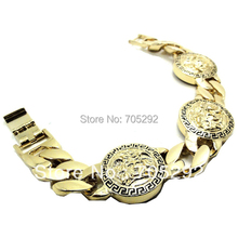 Men's Gold Tone Finish 3 Charms Thick Cuban Link 8 Inch Bracelet