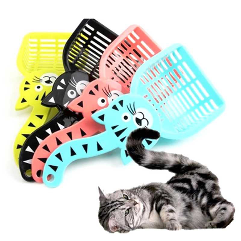 Useful Dog Housebreaking Dog Waste Scooper Shovel Plastic Litter Scoop Clean Toilet Tool For Pet Dog Cat Random Color