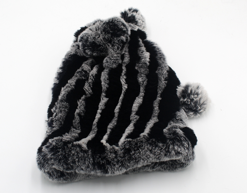 Womens Winter Hats Scarf Knitted Real Rabbit Fur Hat Natural fur Neck Scarf Girls Winter Warm Hat Beanies (24)