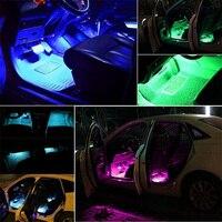 led music 4pcs Car RGB LED Strip Interior Light Multicolor Music Atmosphere Sound Active Function LED Light Strip LED Lighting with Remote (4)