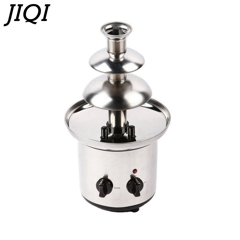 Three 3 Layers 110V/220V Chocolate Fountain Food Grade Stainless Steel Material Non-noise Chocolate Blender Automatic Rotation 65w stainless steel chocolate fountain ac 230v
