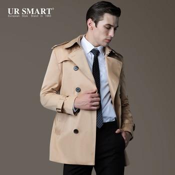 Free Shipping Plus Size !! Men's Fashion Brand Casual Slim Trench Medium-long Trench Coat Clothing / S-3xl