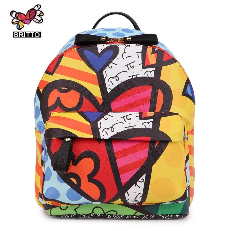 ROMERO BRITTO 2016 Free Shipping Hot Sale College Cartoon Backpack School Bags Female Bag Shoulder Bag Outside Backpacks