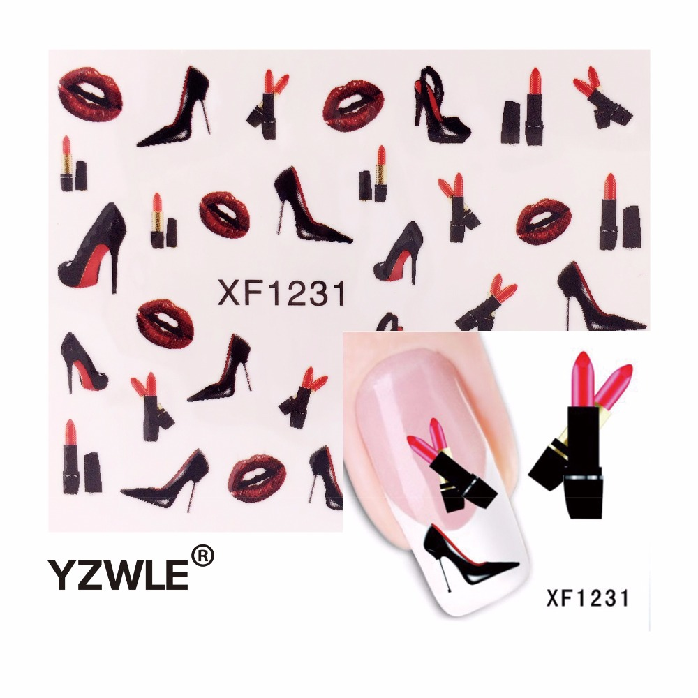 YZWLE New High Heel Sexy Decals Nail Art Stickers Water Transfer Decorations DIY Nails Tips Sex Charm Beauty Nail Art image