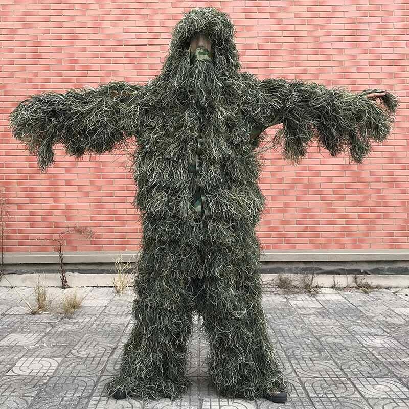 5 pz/set Camouflage Ghillie Suit Yowie Sniper Tattica Vestiti Camo Suit per la Caccia Paintball Ghillie Suit Uomini Vestiti Da Caccia