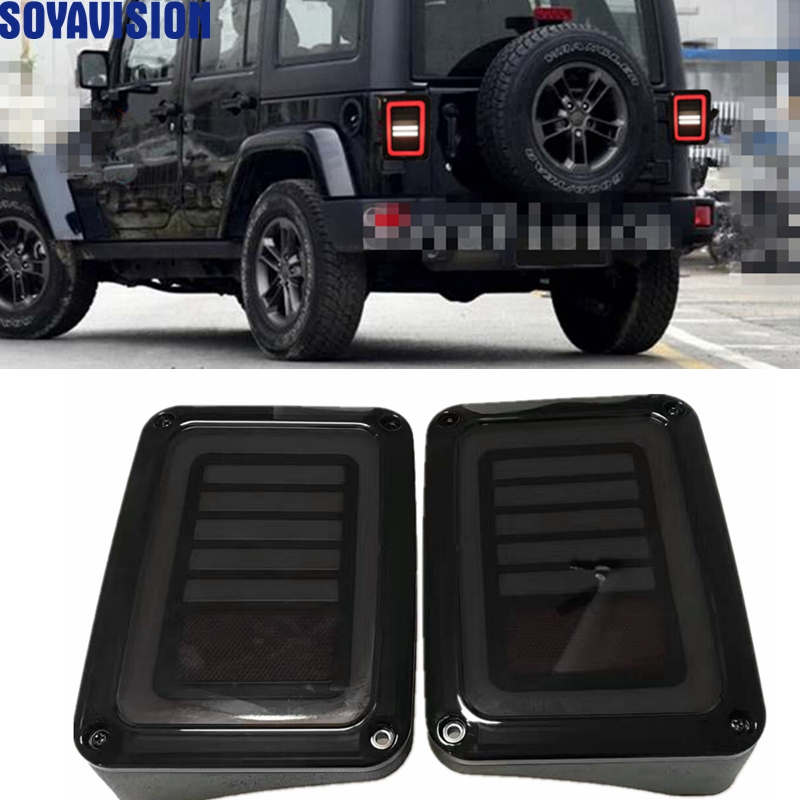 For Jeep Smoked LED Tail Lights for Jeep Wrangler Taillights Reverse Light Real Back Up Turn