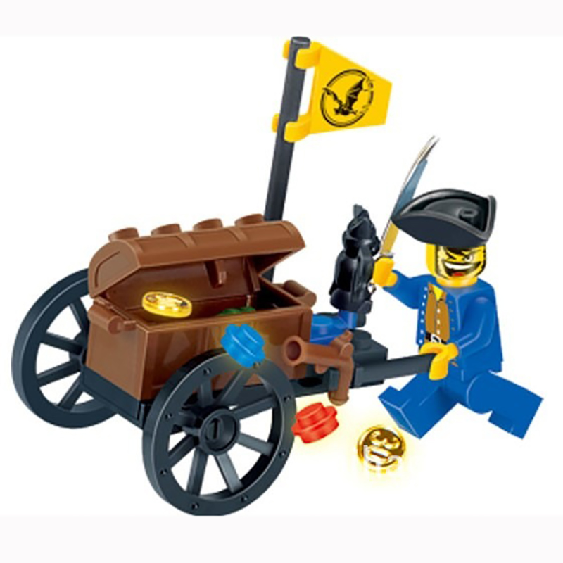 где купить 25pcs Pirates Ship Treasure Transport Trolley Building Blocks Enlighten Bricks Mini Figures Pirates Gifts Boys Toys K2544-1202 по лучшей цене