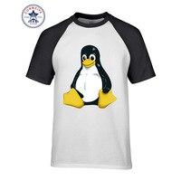 2017 패션 여름 스타일 블랙 발의 펭귄 리눅스 면 재미 T 셔츠