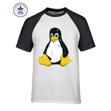 2017 Fashion Summer Style Black footed penguin LINUX Cotton Funny T Shirt for men