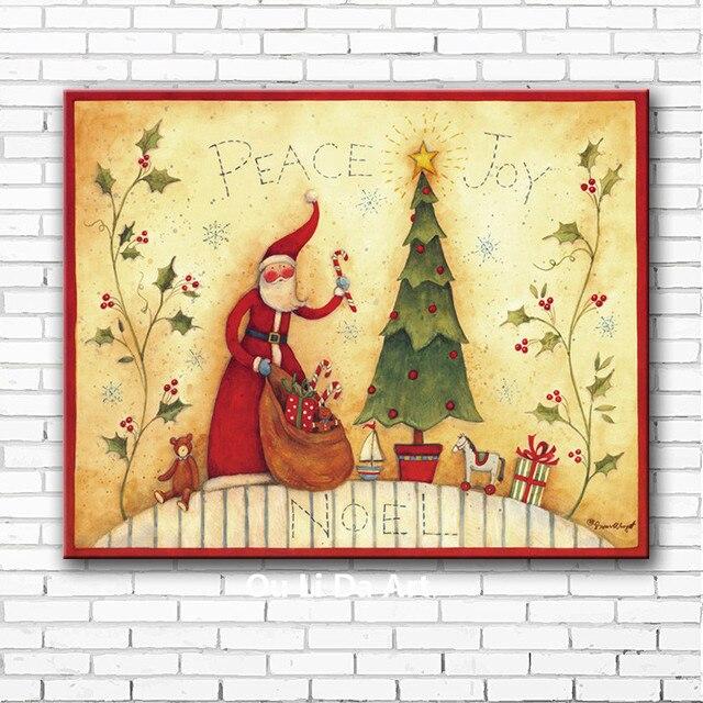 cartoon Santa Claus Christmas tree canvas printings oil paintings ...