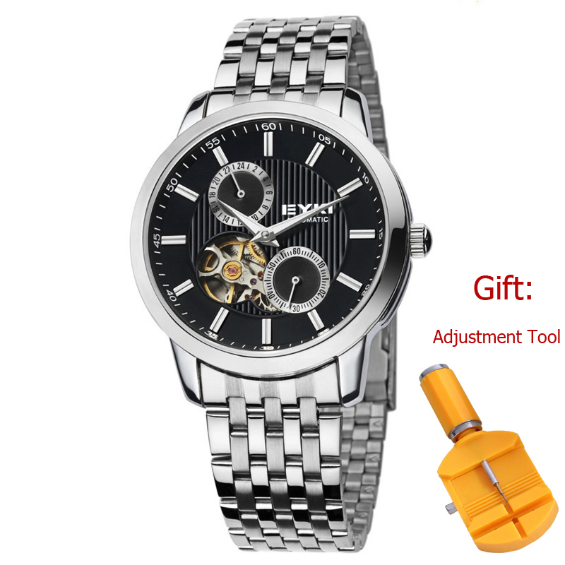 EYKI Automatic Mechanical Watches Men Luminous Hollow Dial Golden Silver Case Stainless Steel Skeleton Transparent Dress Watch