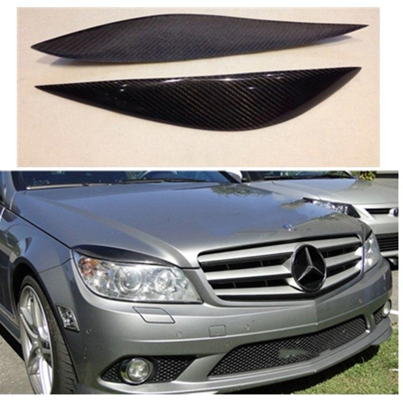 Carbon fiber headlight border covers for benz C180 C200 C260 C300 W204 2008 2011 car exterior accessories