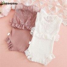 Милый кружевной комбинезон для маленьких девочек; Летняя трикотажная одежда для малышей; одежда принцессы для новорожденных; одежда для От 0 до 2 лет девочек; цельнокроеное платье для маленьких девочек