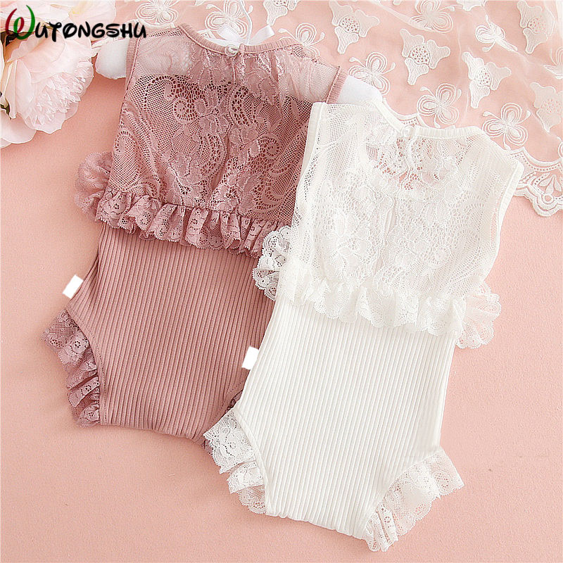 Cute Lace Baby Girl Rompers Summer Knitted Baby Clothing Princess Newborn Clothes Outfits For 0-2Y Girls Baby Girl One-pieces