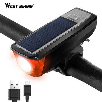 WEST BIKING Movido A Energia Solar Luz Da Bicicleta com Sinos de Bicicleta Frente Lâmpada 350 Lumen 4 Modos de Carregamento USB À Prova D' Água Levou Bicicleta luzes