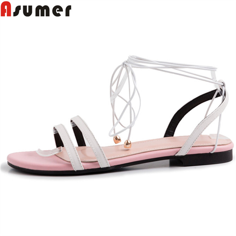 ASUMER Ladies Shoes Ankle-Strap Flat Genuine-Leather with Female Women Sandals Mixed-Colors