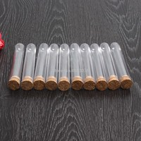 100pcs/lot 18x105mm Plastic Test Tube With Cork Stopper Clear Like Glass, Laboratory School Educational Supplies