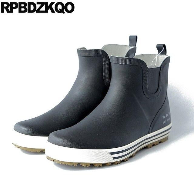870de1d0a99 Preto à prova d  água Tornozelo Botas Dos Homens Casuais Botas De Chuva  Sapatos de