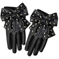 Elegant Women's High-Street Solid Colors Gloves Sweet Bow Rivets Soft PU Leather Short Fashion Comfortable Soft Warm Gloves