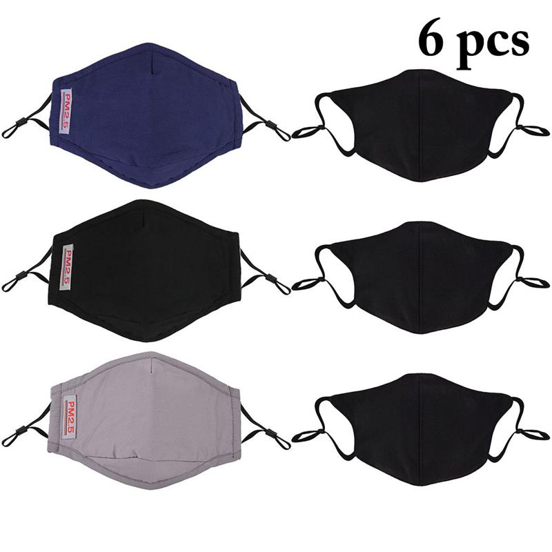 6PCS Solid Color Anti-Fog Dustproof Mouth Mask PM2.5 Cotton Mouth Cover Face Mouth Mask With 6 Carbon Filters For Outdoor Travel