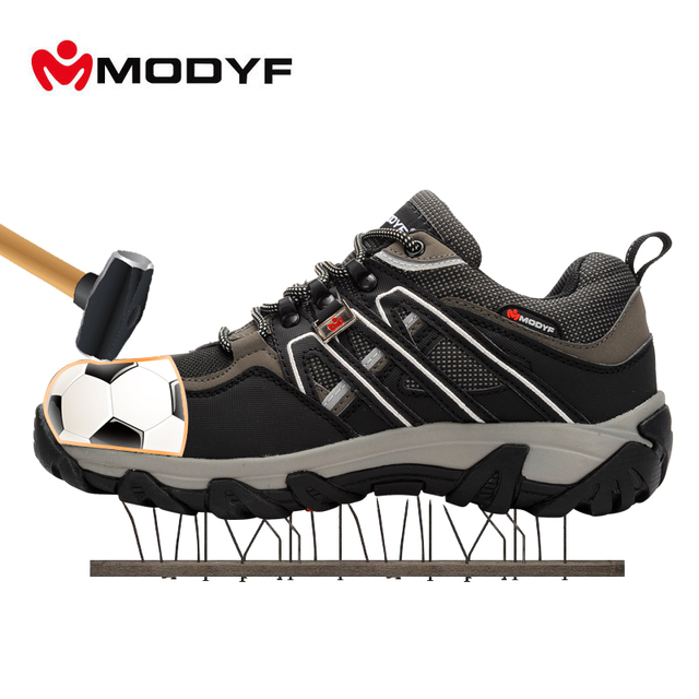 MODYF Men Steel Toe Safety Work Shoes Breathable Hiking Sneaker Multifunction Protection Footwear