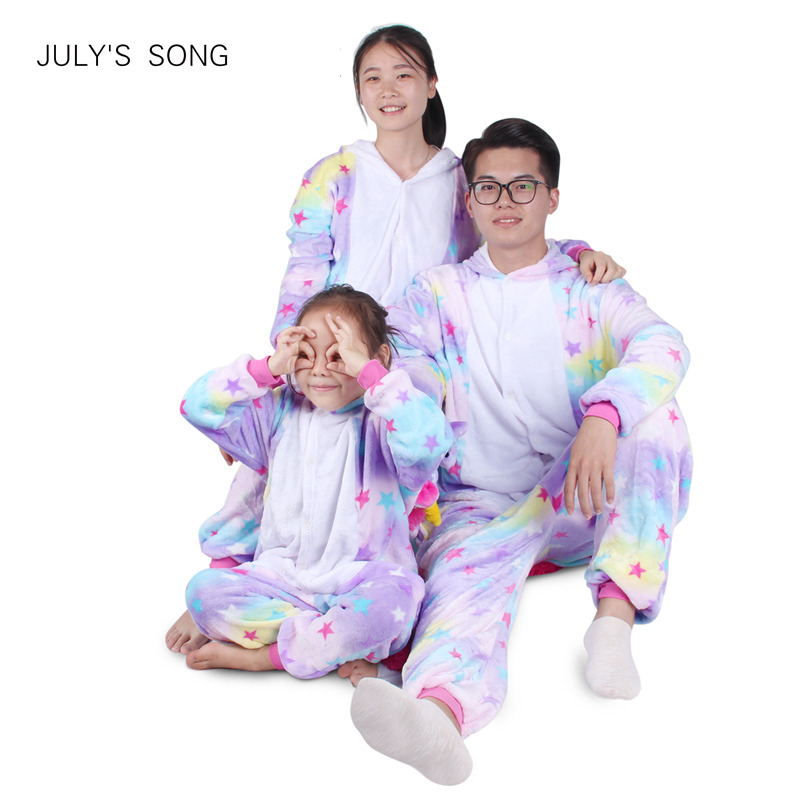 Einhorn Flanell Pyjamas Set Kigurumi Rosa Cartoon Tier Eltern-kind Winter Pyjamas Cosplay Frauen Männer Winter Nachtwäsche Unisex