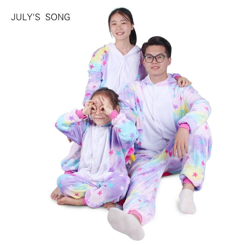 Unicornio de franela pijamas Kigurumi rosa de dibujos animados de animales de padre-hijo de invierno pijamas de invierno Cosplay los hombres y las mujeres ropa de dormir de invierno Unisex