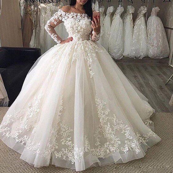 2020 trouwjurk Lace Ball Gown Wedding Dress Organza Appliqued Wedding Bridal Gown Long Sleeve vestidos de noiva