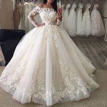 Vestido de noiva feminino, vestido de noiva com renda e aplique, manga longa, 2020