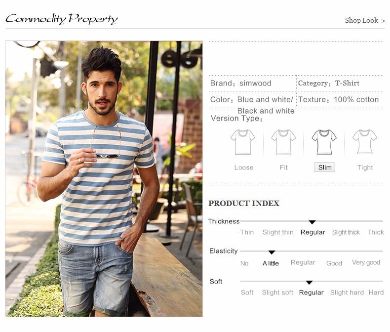 SIMWOOD New Men T shirt Fashion O-neck Short-sleeved Slim Fit Blue Striped T-SHIRT Man Top Tee Plus Size Free Shipping TD1034
