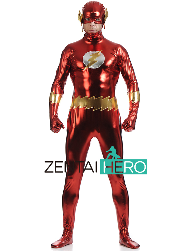 Free Shipping DHL HOT Shiny Metallic Red Zentai Flash Hero Costume For 2017 Halloween Lycra Flash Man Costume LZ112207