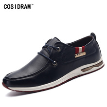 Spring Autumn PU Leather Casual Shoes British Style Lace-Up Rubber Sole Men Shoes Brand Designer Leisure Male Footwear RME-181