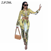 ZJFZML 2018 노란색 인쇄 섹시한 두 조각 세트 여성 전체 소매 턴 다운 칼라 짧은 최고 패션 높은 허리 Bodycon 연필 바지