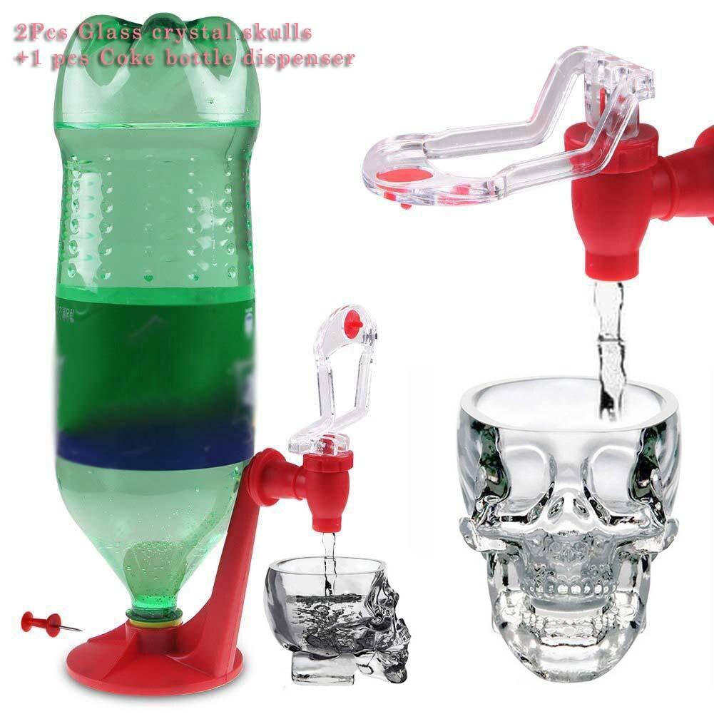 High Quality 2Pcs Glass crystal skulls Cup +1 pcs Coke