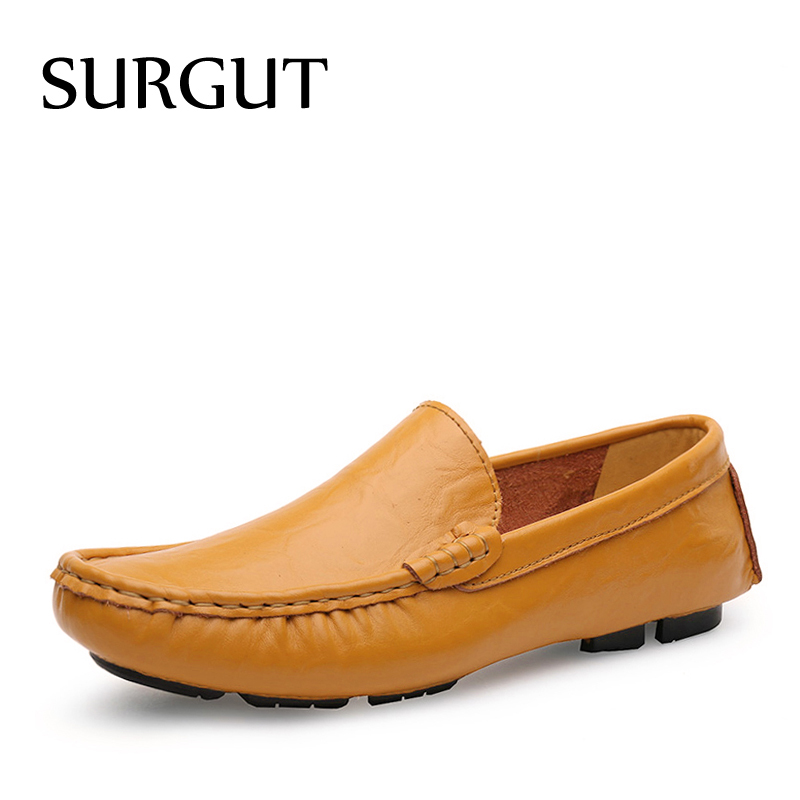 SURGUT Loafers Men Shoes Breathable Comfortable Genuine Leather Flats Spring Summer Fashion Casual Shoes For Man Plus Size 35-50 new arrival high genuine leather comfortable casual shoes men cow suede loafers shoes soft breathable men flats driving shoes
