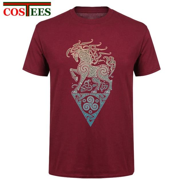 Viking shirt Designer Artwork Odins steed raidho horse Men T Shirt New Printed Vikings T-shirt Short Costume Pre-cotton Tops Tee