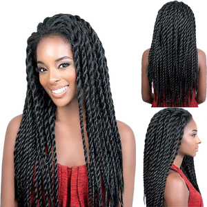 Image 2 - Feibin Lace Front Afro Twist Braided Wigs For Black Women Mambo Full Head Wig B33